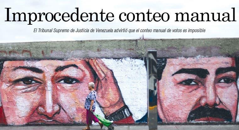 Justicia venezolana: conteo manual es un imposible