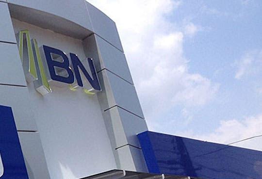 Banco Nacional con doble bandera azul