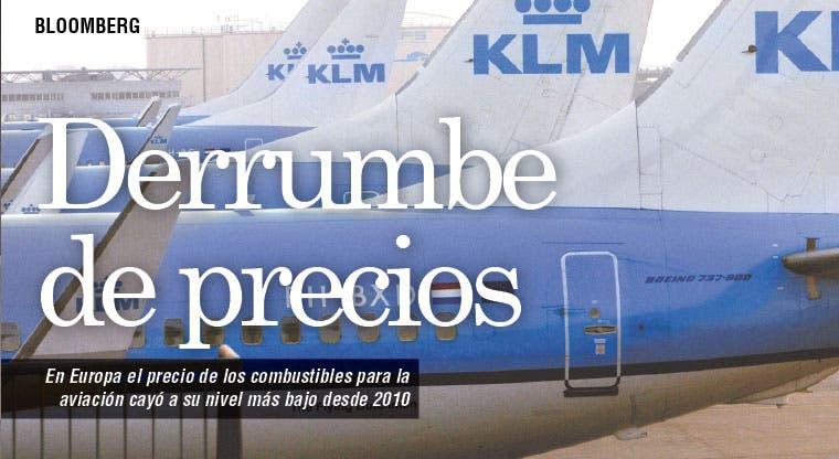 Se derrumba precio de combustible para jets en Europa