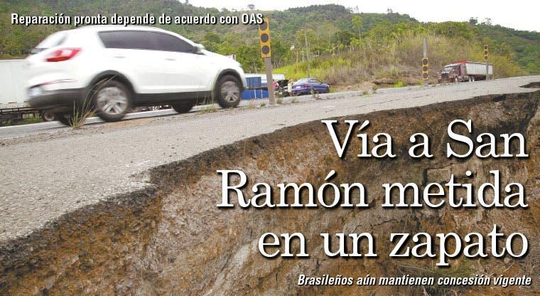 Vía a San Ramón metida en un zapato