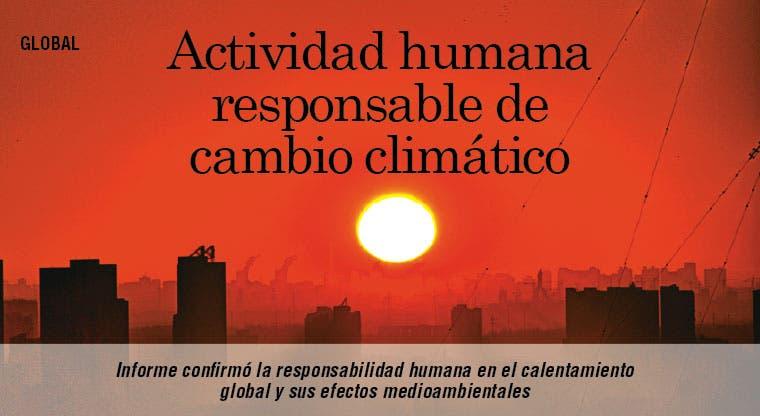 Actividad humana responsable de cambio climático