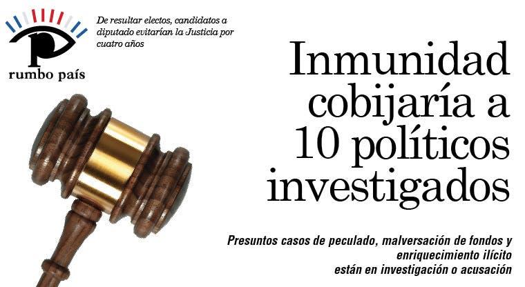 Inmunidad cobijaría a 10 políticos investigados