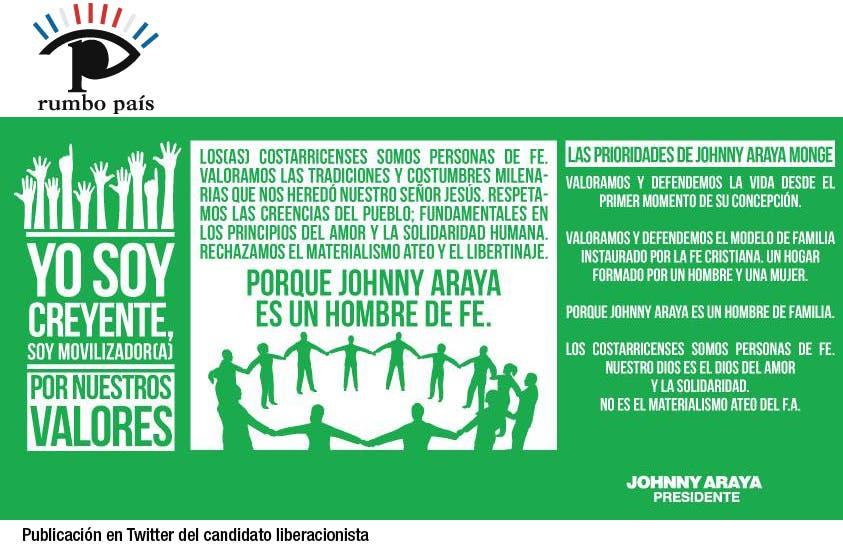 Denuncian a Johnny Araya por propaganda con fines religiosos