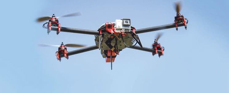 Alta tecnología de drones para excavar minas