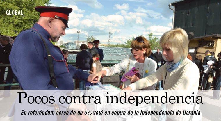 Pocos votos contra independencia, da recuento de referéndum en Ucrania