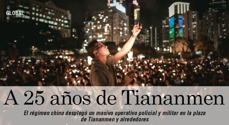 Militares y policía combaten el 25 aniversario de Tiananmen