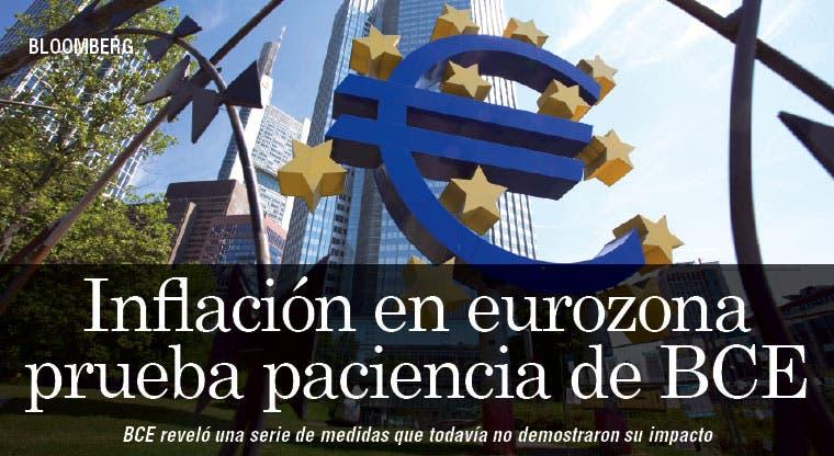 Inflación en eurozona prueba paciencia de BCE