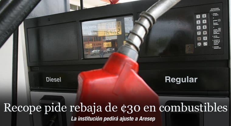 Recope pide rebaja de ¢30 en combustibles