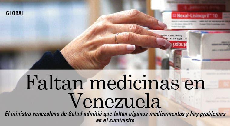 Admiten falta de medicamentos en Venezuela