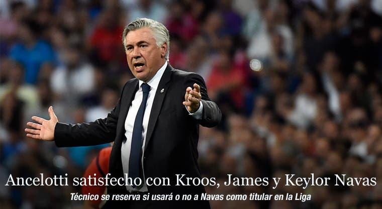 Ancelotti satisfecho con Kroos, James y Keylor Navas