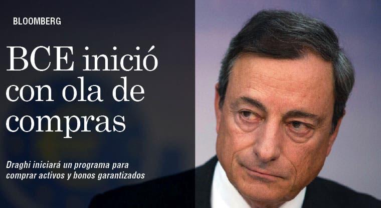 BCE inició con modesta ola de compras de Draghi