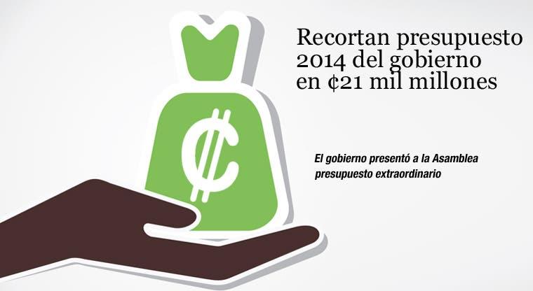 Recortan presupuesto 2014 del gobierno en ¢21 mil millones