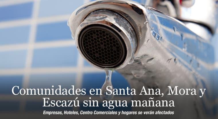 Comunidades en Santa Ana, Mora y Escazú sin agua mañana
