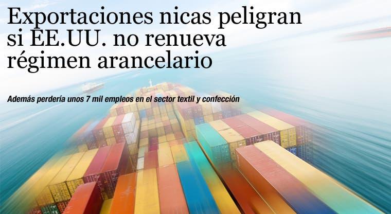 Exportaciones nicas peligran si EE.UU. no renueva régimen arancelario