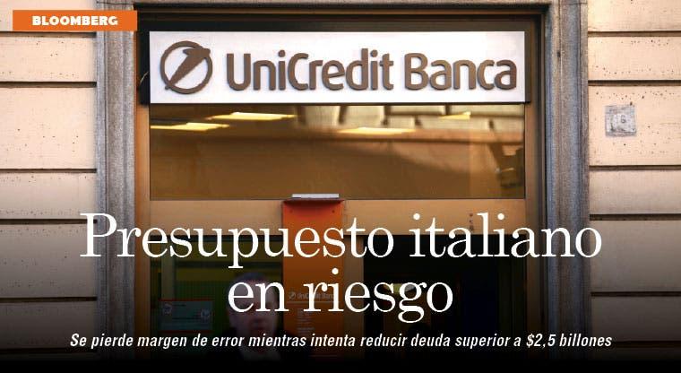 Créditos podrían frustrar presupuesto del Gobierno italiano