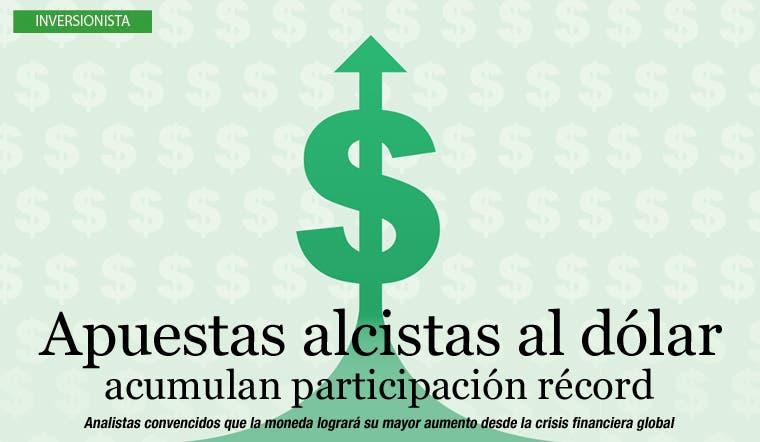 Apuestas alcistas al dólar acumulan participación récord