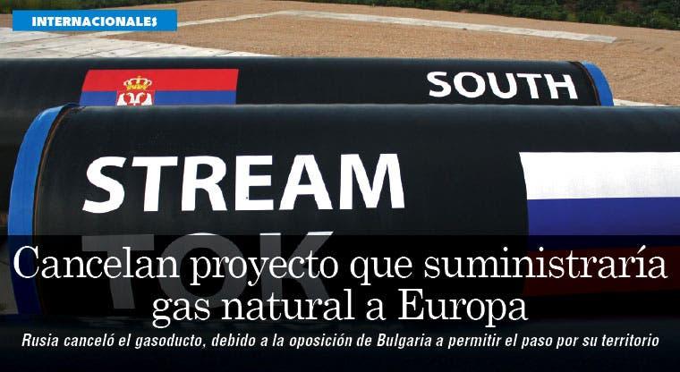 Rusia cancela proyecto del gasoducto por bloqueo búlgaro