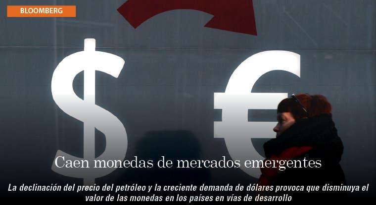 Monedas de mercados emergentes caen a menor nivel en 10 años