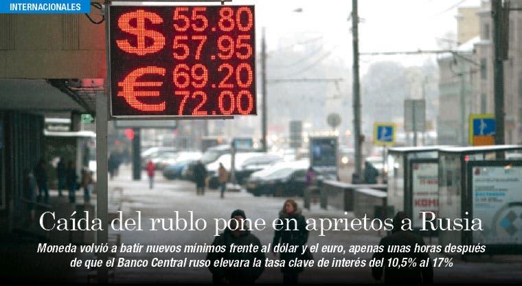 Rusia vive situación crítica por caída del rublo