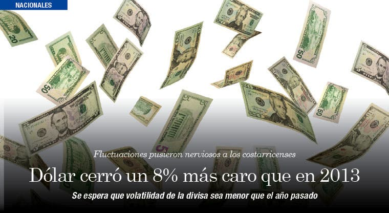 Dólar cerró un 8% más caro que en 2013
