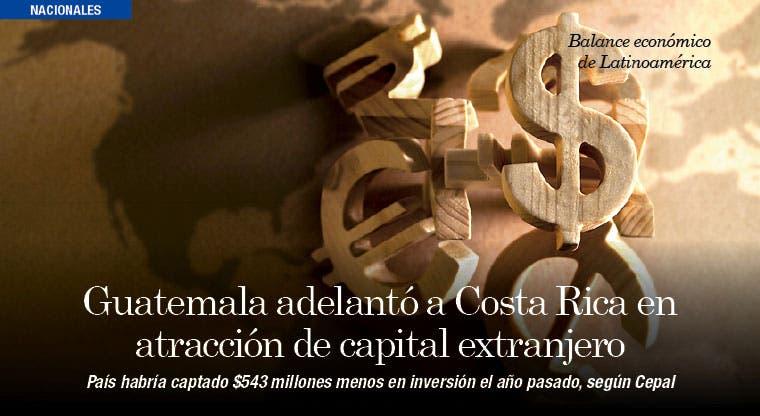 Guatemala adelantó a Costa Rica en atracción de capital extranjero