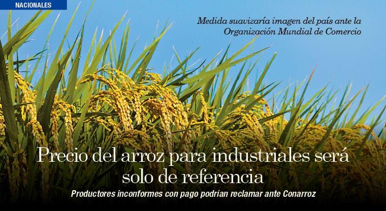 Precio del arroz para industriales será solo de referencia