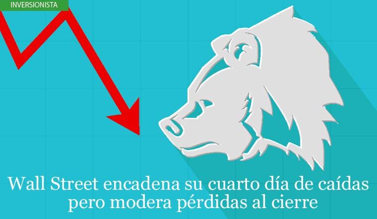 Wall Street encadena su cuarto día de caídas pero modera pérdidas al cierre