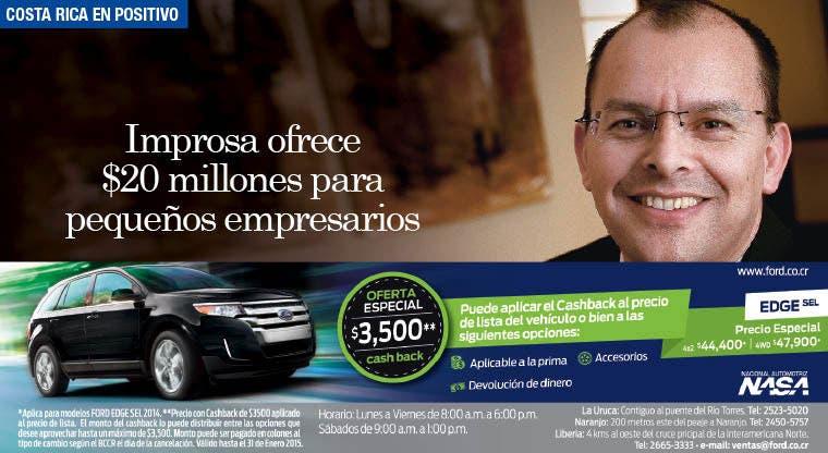 Improsa ofrece $20 millones para pequeños empresarios