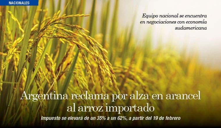 Argentina reclama por alza en arancel al arroz importado