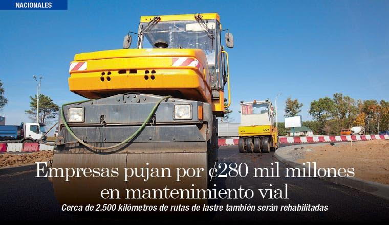 Habrá ¢280 mil millones para mantenimiento vial