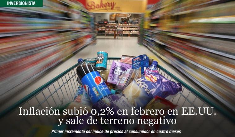 Inflación subió 0,2% en febrero en EE.UU. y sale de terreno negativo