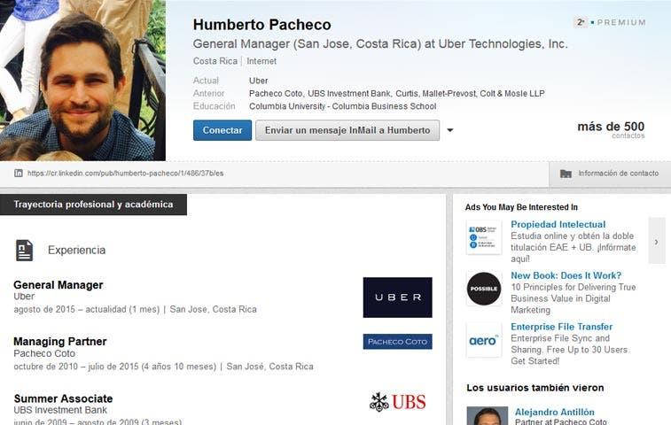 Uber escoge a Humberto Antonio Pacheco como gerente general en Costa Rica