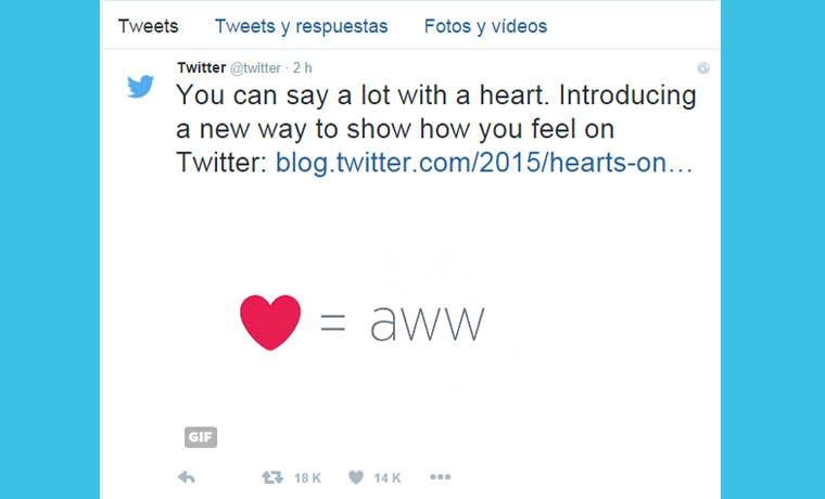 Twitter reemplaza el botón de Favoritos por un corazón de Me Gusta