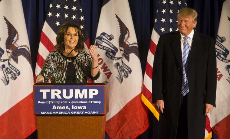 Palin manifiesta su apoyo a Trump antes de primarias en Iowa
