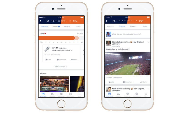Seguir partidos en vivo será posible con nueva plataforma de Facebook