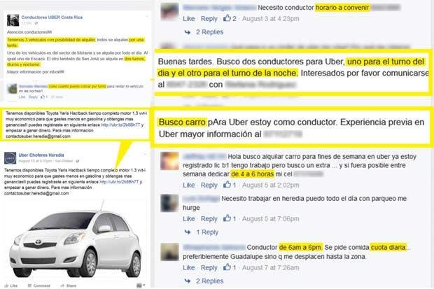 Conductores de Uber emplean a terceros para operar sus vehículos