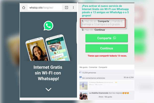 Circula estafa en WhatsApp que promete Internet gratis
