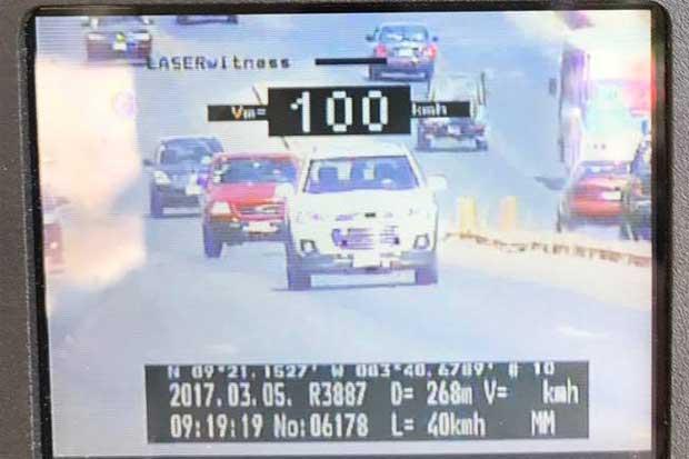 42 conductores multados por conducir a 120 km/h en primer bimestre del año