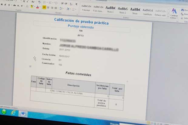¿Realizará prueba práctica de manejo? Puede solicitar resultado escrito