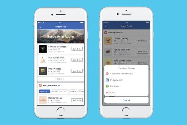 Facebook habilita servicio para ordenar comida