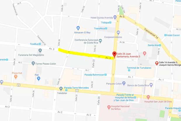 Avenida 3 en San José tendrá cierre parcial hasta la próxima semana