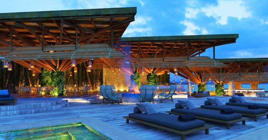 Imagen de como quedará el área de piscina del hotel