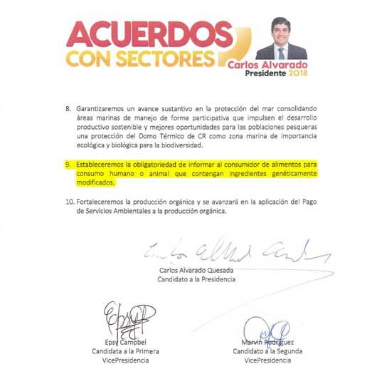 Apartado del plan de gobierno de Carlos Alvarado que habla sobre el etiquetado de transgénicos