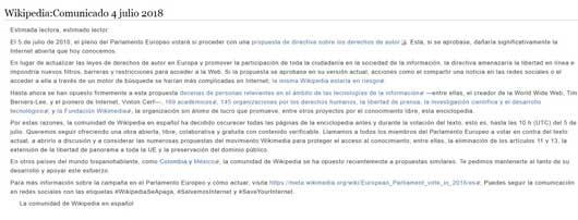 Comunicado emitido esta mañana por Wikipedia.