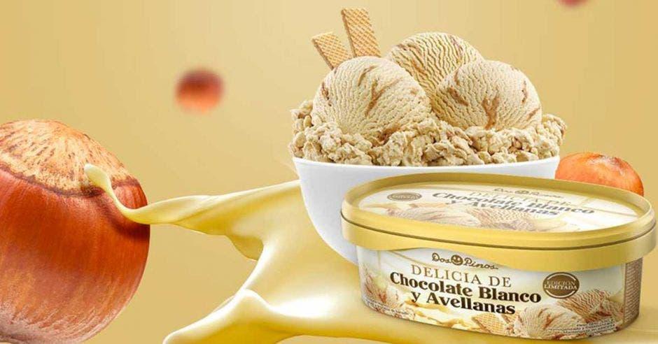 Dos Pinos lanza helado de chocolate blanco y avellanas