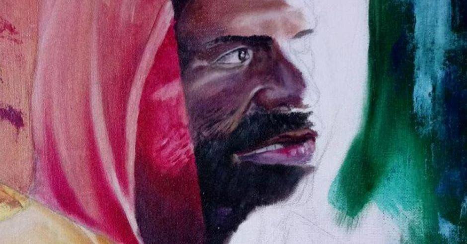 Una de las pinturas de la exposición, un indigente viendo hacia un lado