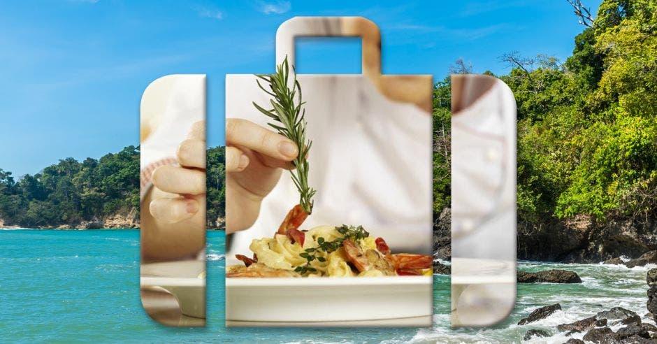 Maleta de viaje y plato de comida