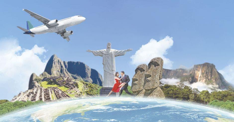 avión sobre íconos de ciudades suramericanas: Machu Puchu, Cristo del Río de Janeiro, pareja bilando tango