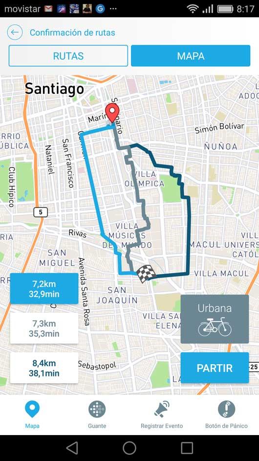 Mapa de Chile en la aplicación y sus ciclovías