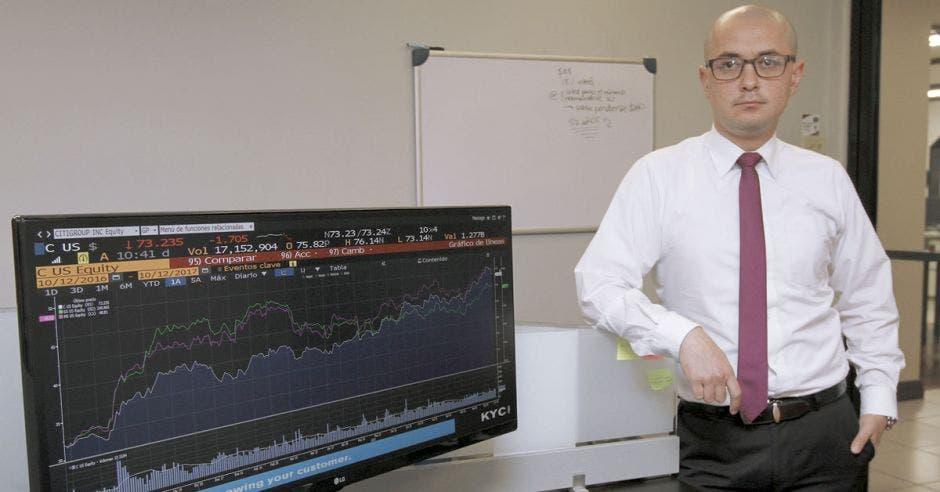 Luis Diego Herrera, de Grupo Financiero Acobo, posa junto a una pantalla con indicadores económicos